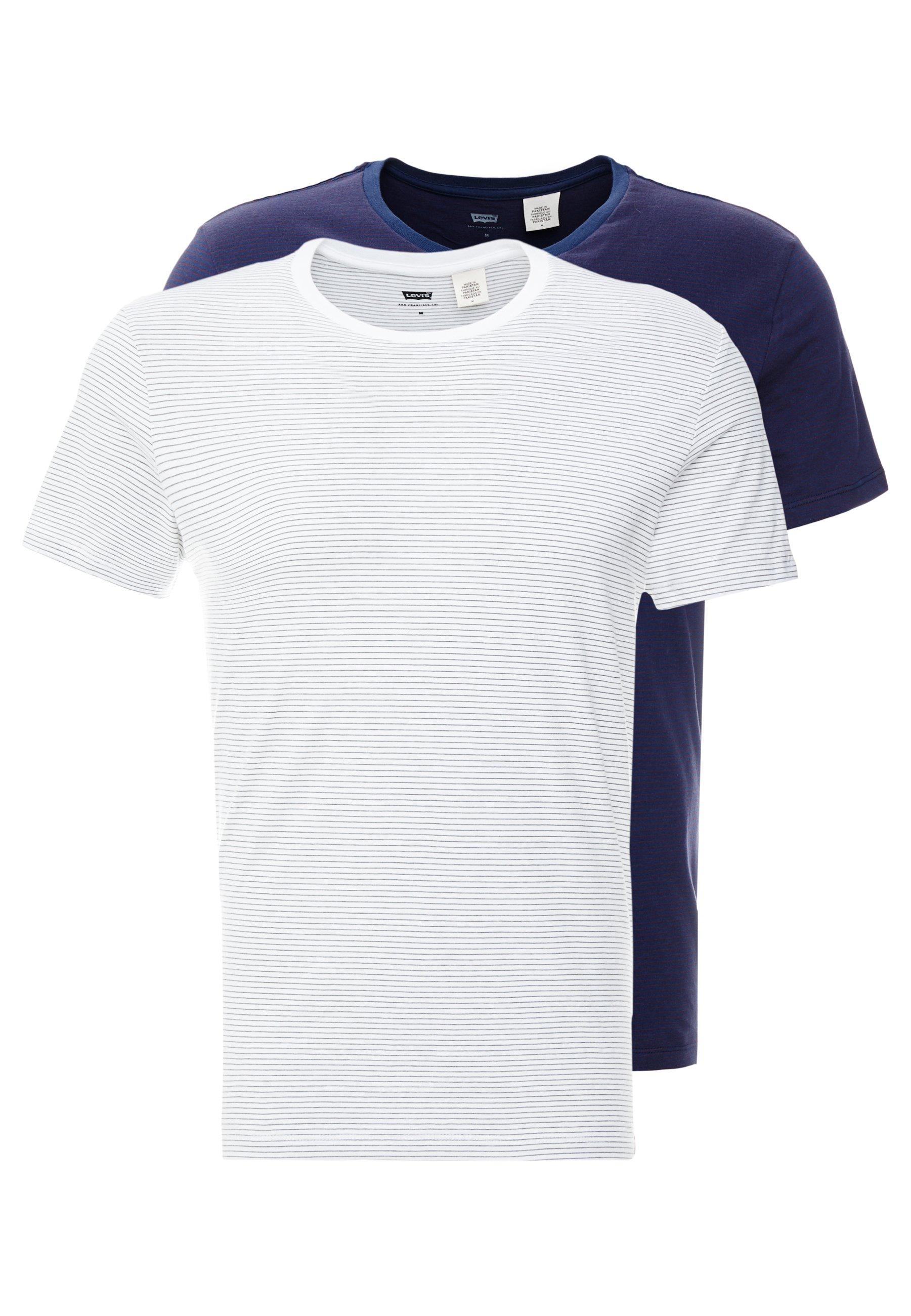 Levi's® CREWNECK 2 PACK - T-shirt z nadrukiem - olive/white/dress blues