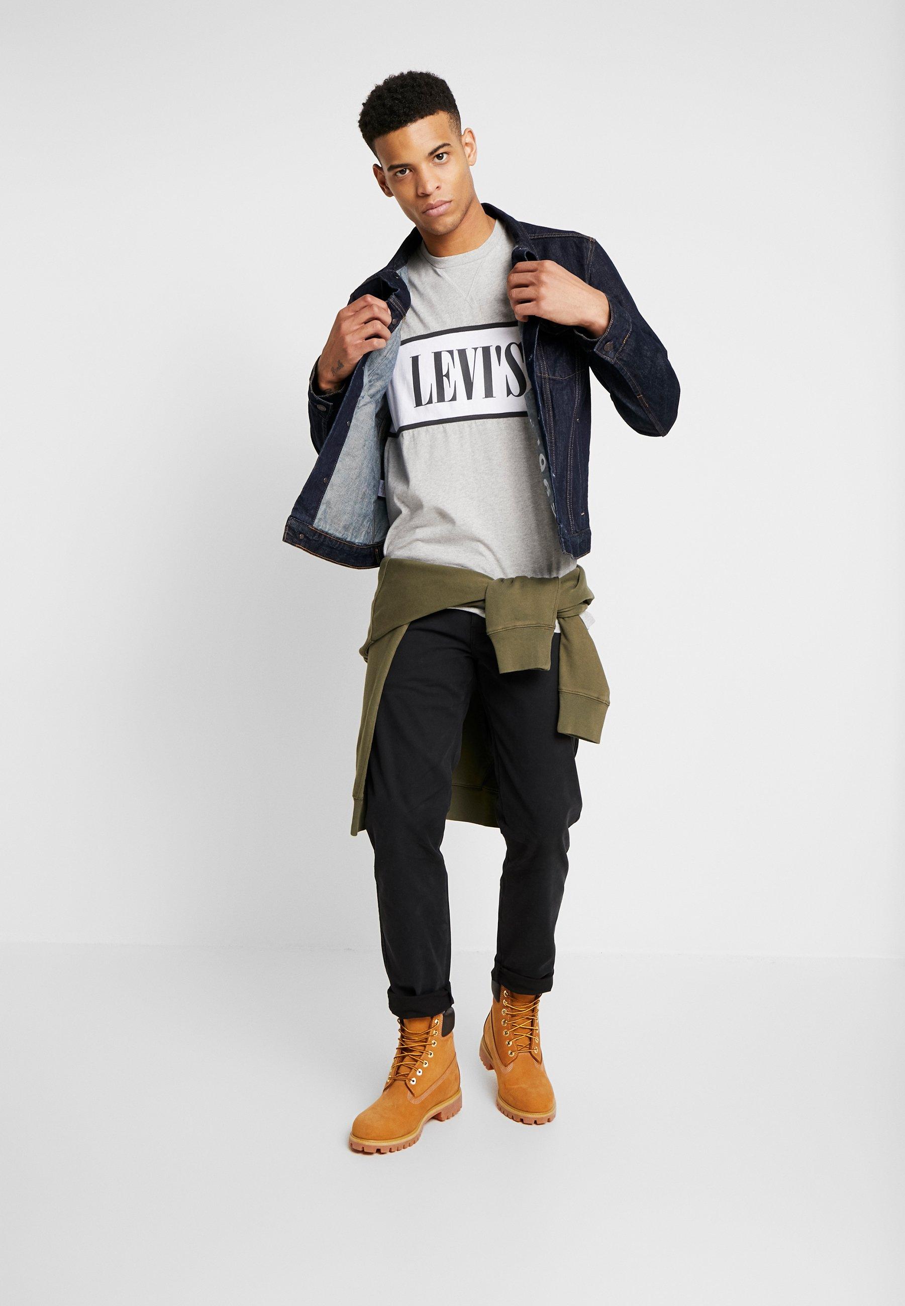 Levi's® AUTHENTIC COLORBLOCK TEE - T-shirt z nadrukiem - heather grey/white