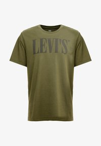 Levi's® - RELAXED GRAPHIC TEE - T-shirt z nadrukiem - 90's serif logo olive night - 3