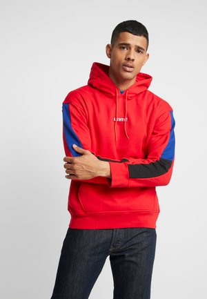 RACER SLEEVE HIT HOODIE - Luvtröja - brilliant red/ mineral black/ sodalite blue/ white