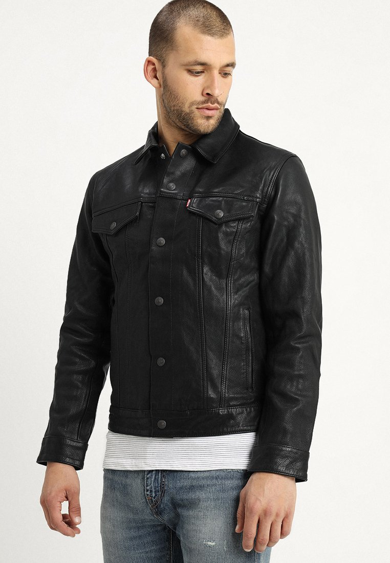 Levi's® - TRUCKER TYPE 3 - Leather jacket - black