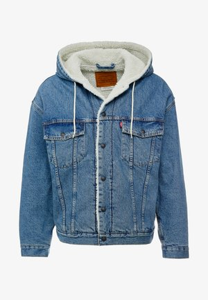 HOODED SHERPA TRUCKER - Veste mi-saison - blue denim