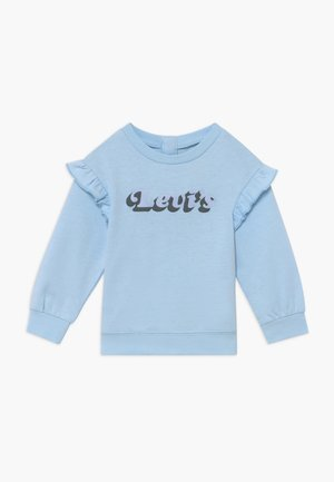 RUFFLE SLEEVE CREW NECK - Sweater - light blue
