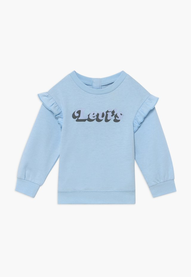 RUFFLE SLEEVE CREW NECK - Sweatshirt - light blue
