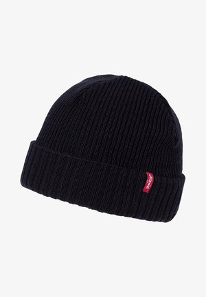RIBBED BEANIE - Gorro - regular black