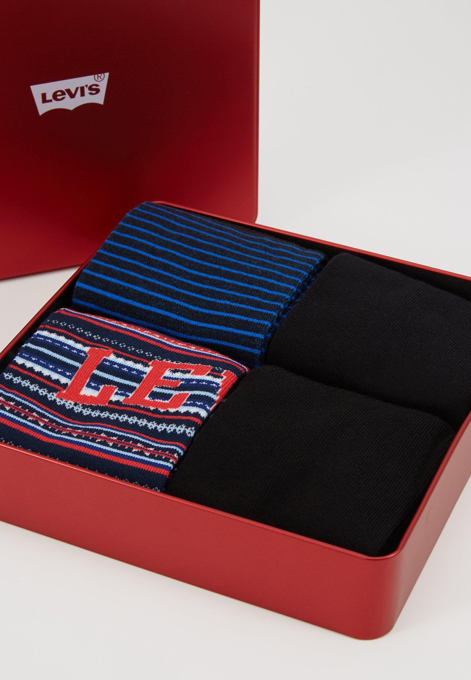 4 Dark black Levi's® Regular Blue Giftbox PackChaussettes Cut ARjq4L35