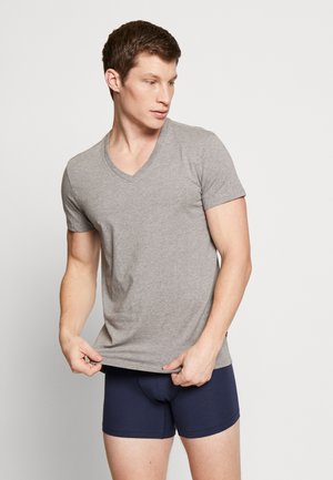 MEN V-NECK 2 PACK - Hemd - middle grey melange