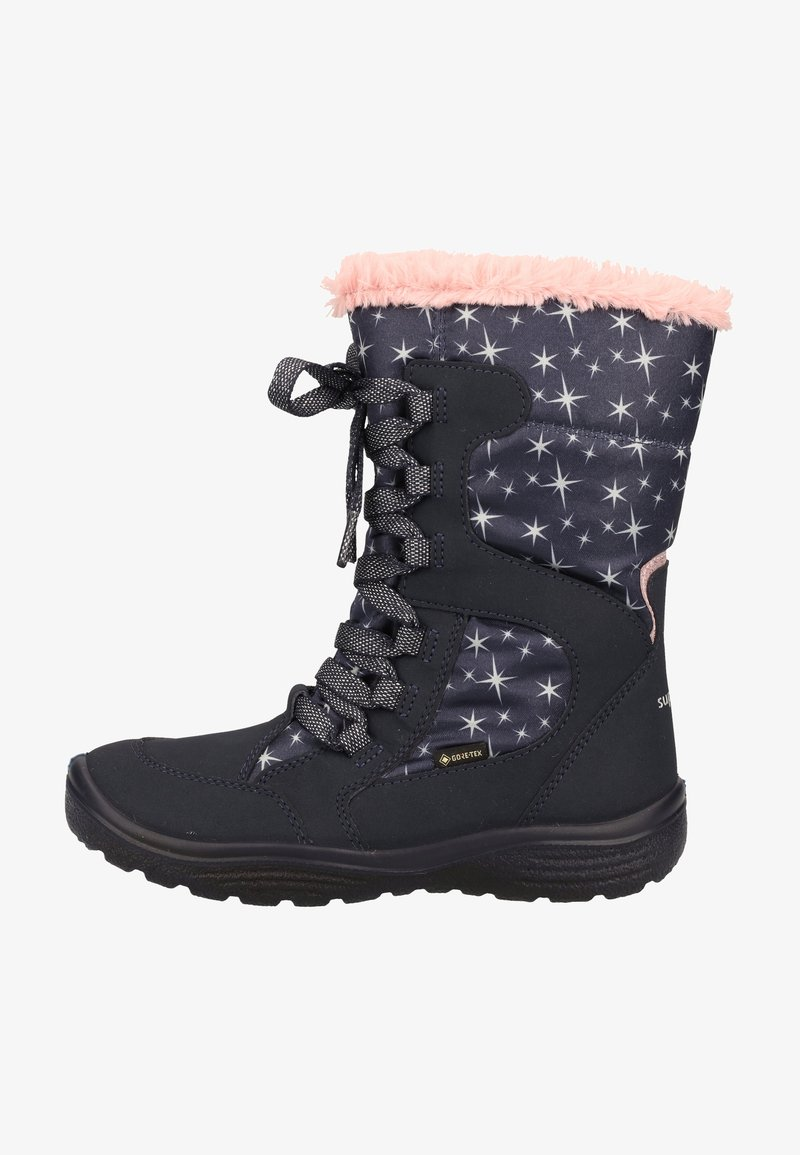 Superfit - Lace-up ankle boots - blue/pink