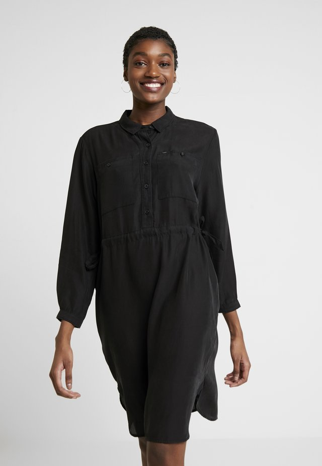 WORKER DRAPEY DRESS - Shirt dress - black