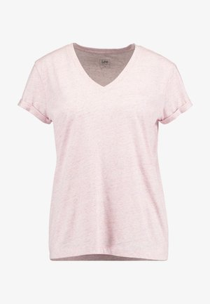 V NECK TEE - T-shirts - frost pink