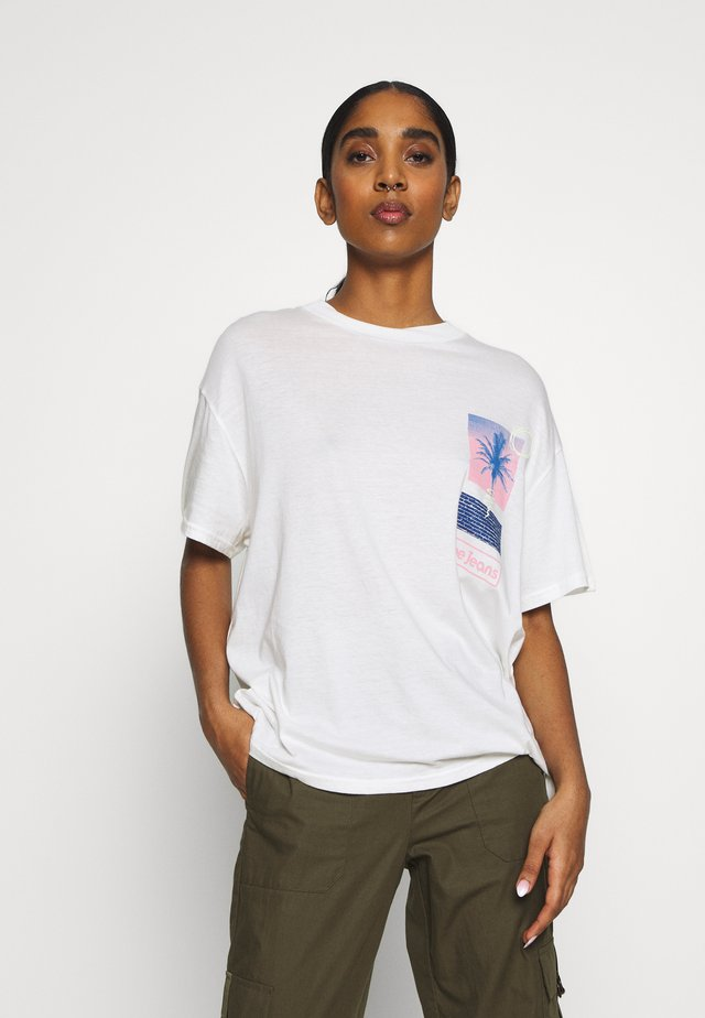 OVERSIZED TEE - T-shirt z nadrukiem - ecru