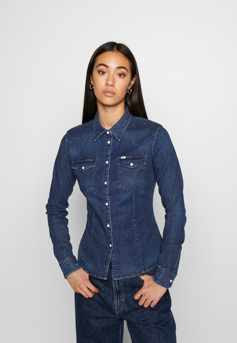 Lee - SLIM WESTERN - Overhemdblouse - washed blue
