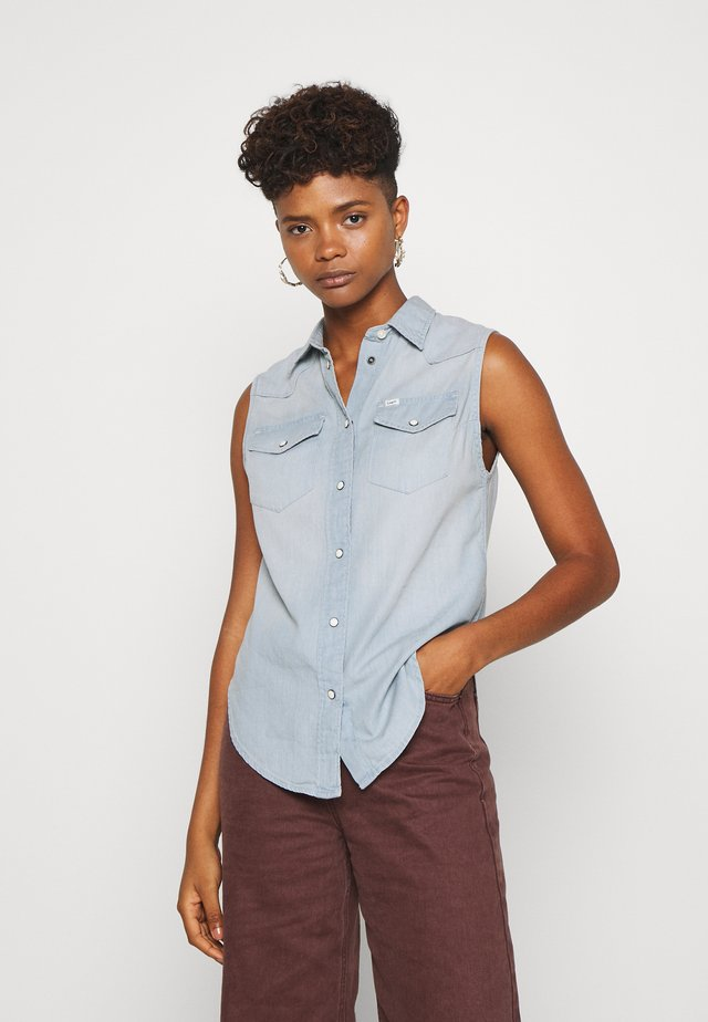 SLEEVELESS - Button-down blouse - sterling blue