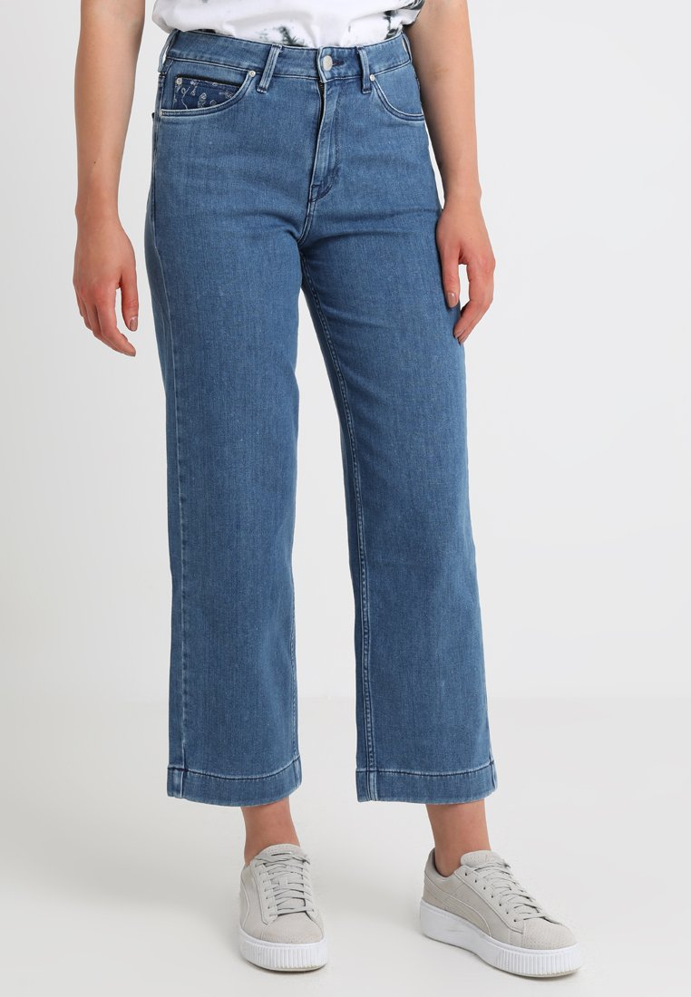 Lee - HIGH WAIST WIDE LEG - Jeans Relaxed Fit - piped stonewash