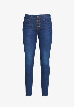 SCARLETT BUTTONS - Jeansy Skinny Fit - dark blue denim