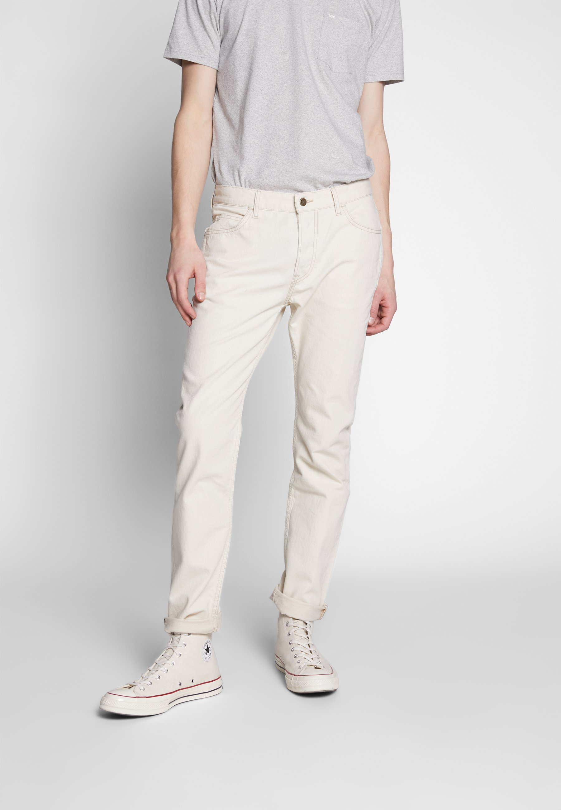 Lee RIDER BUTTON FLY - Jeansy Slim Fit - white denim off-white