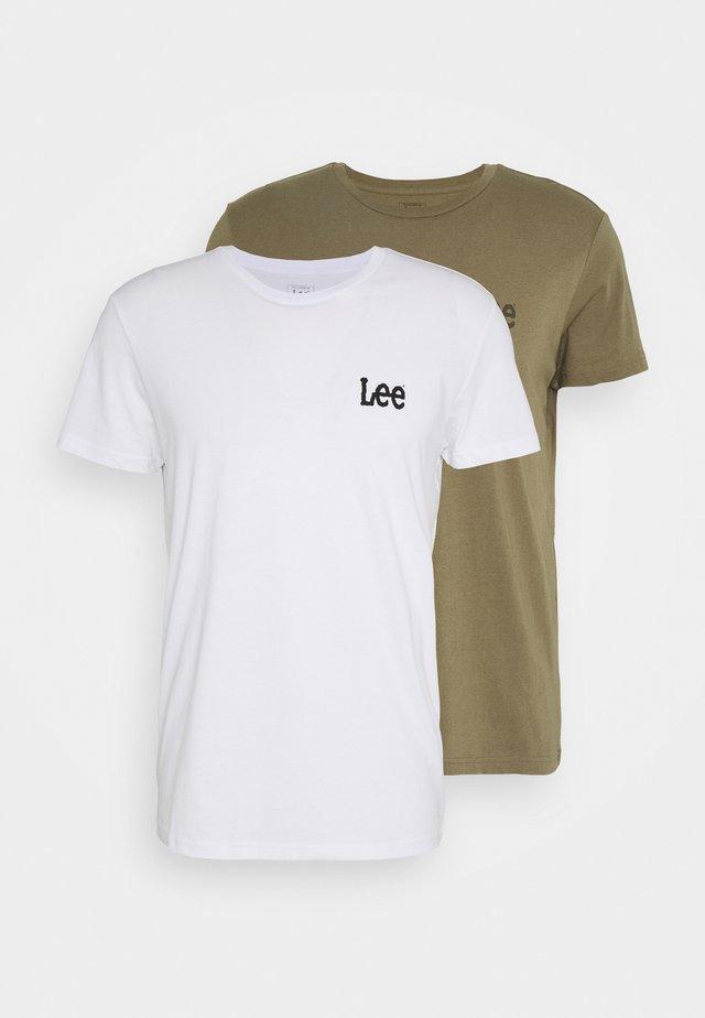TWIN 2 PACK - Print T-shirt - white/green