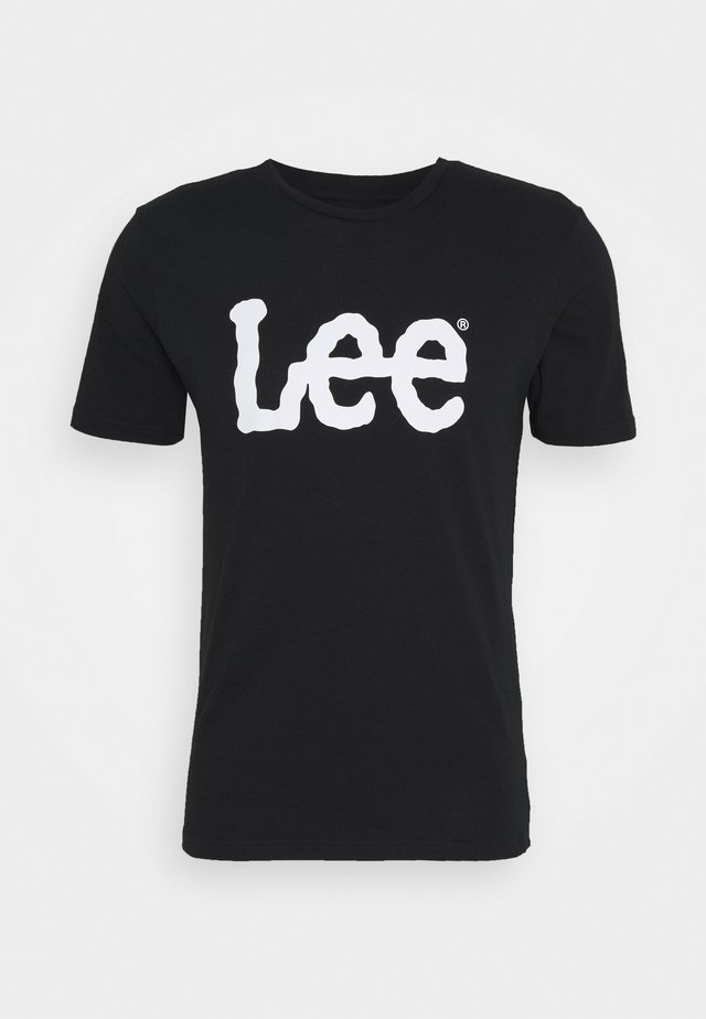 WOOBLY LOGO TEE - T-shirt z nadrukiem - black