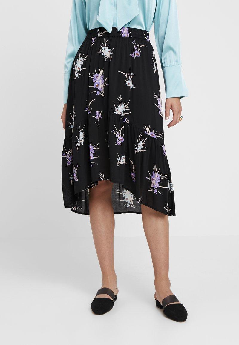 Levete Room - GRITA - A-line skirt - black combi