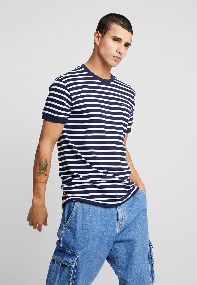 Le Fix - STRIPE TEE - Print T-shirt - navy / white