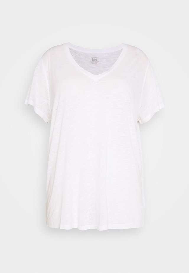 V NECK TEE - Triko spotiskem - bright white