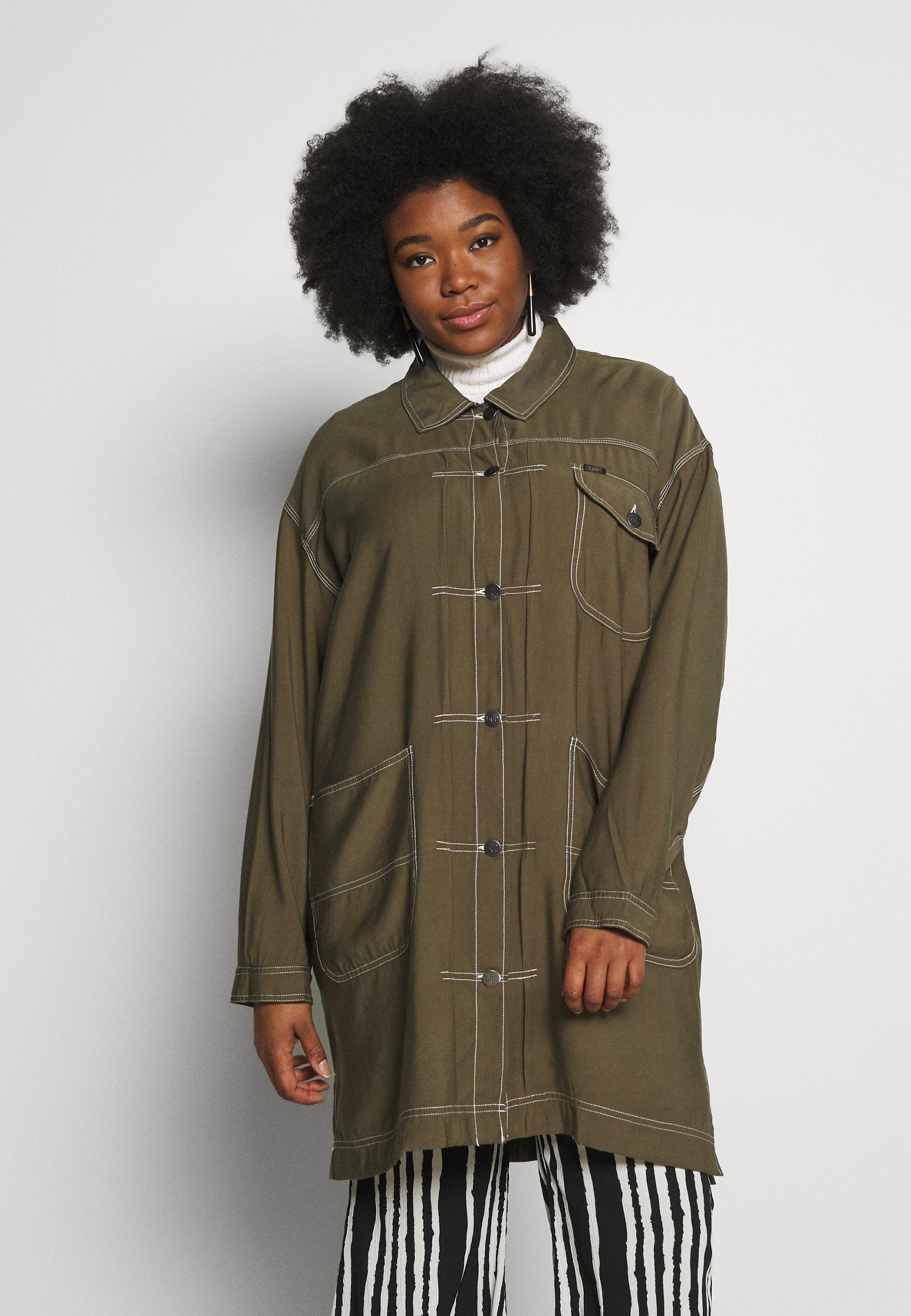Lee Plus ELONGATED DUSTER COAT - Krótki płaszcz - olive green
