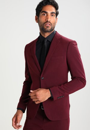 PLAIN MENS SUIT SLIM FIT - Dress - bordeaux melange