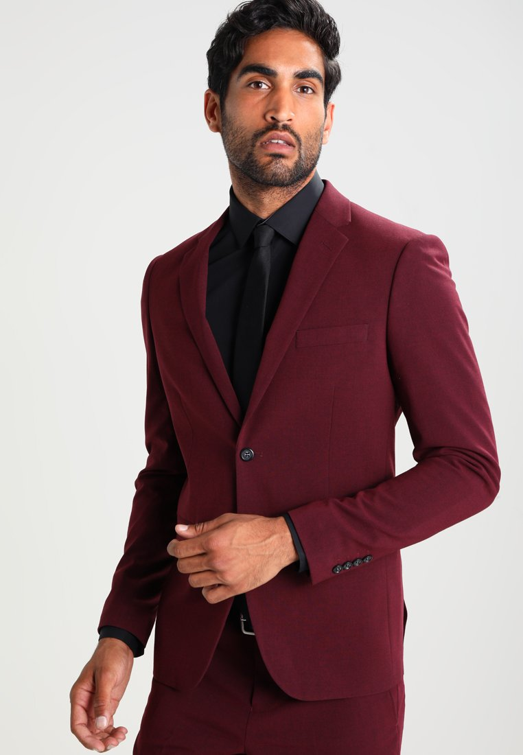 Lindbergh - PLAIN MENS SUIT SLIM FIT - Jakkesæt - bordeaux melange