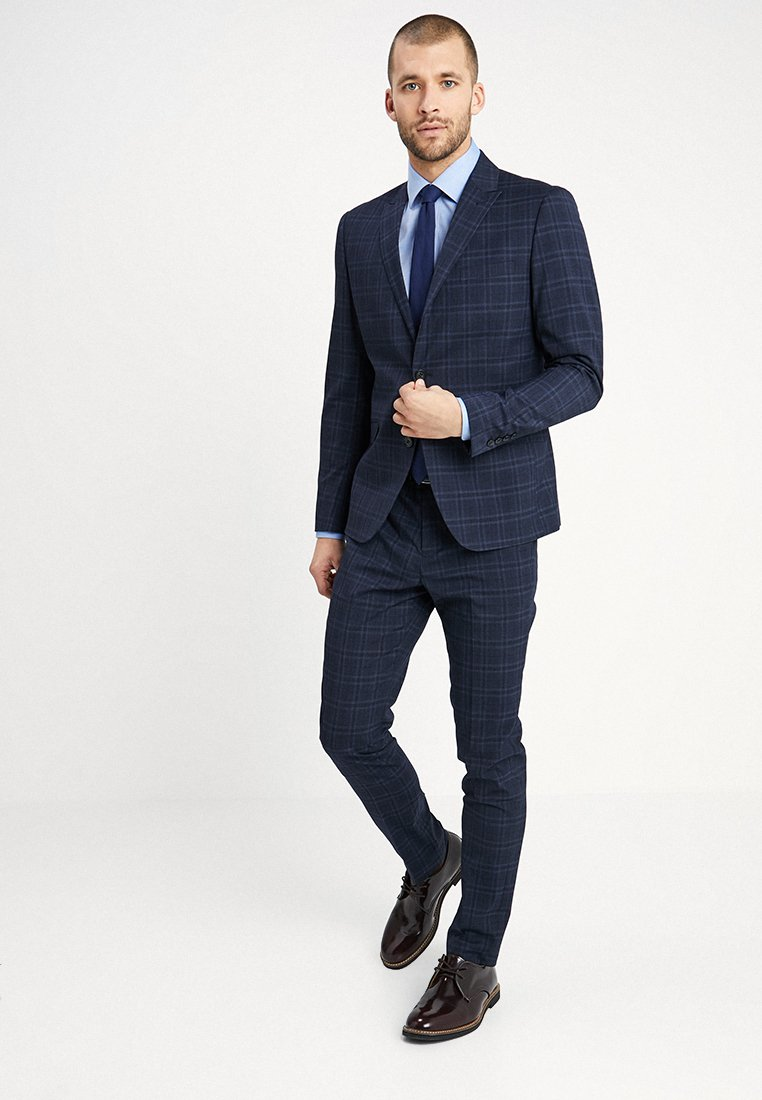 Lindbergh - CHECKED SUIT SLIM - Anzug - navy