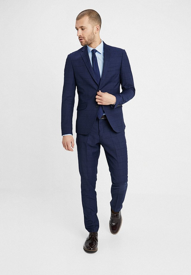 CHECKED SUIT SLIM - Oblek - dark blue