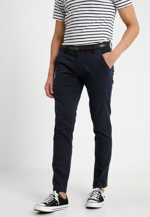 CLASSIC STRETCH WITH BELT - Stoffhose - navy