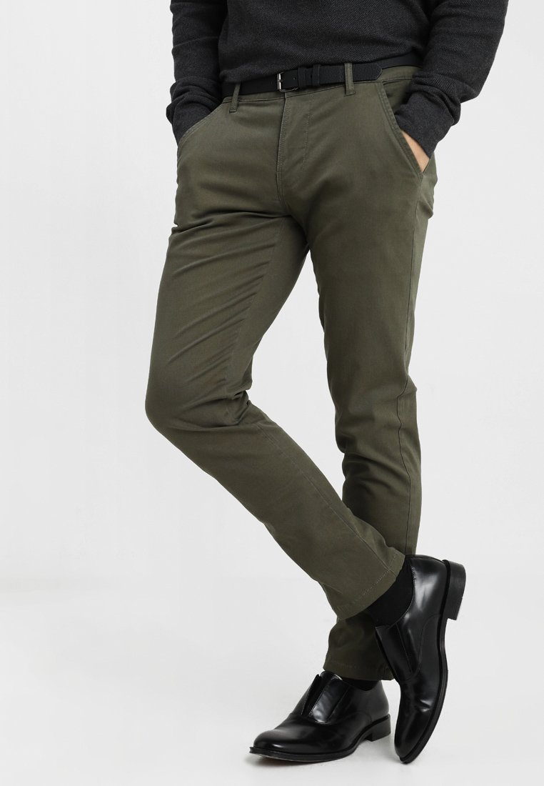 Lindbergh - CLASSIC STRETCH WITH BELT - Pantaloni - olive