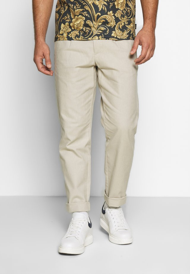 WIDE PANTS ELASTIC - Pantaloni - sand mix