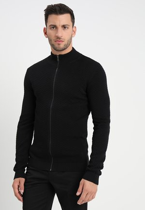 STRUCTURE ZIP CARDIGAN - Strikjakke /Cardigans - black