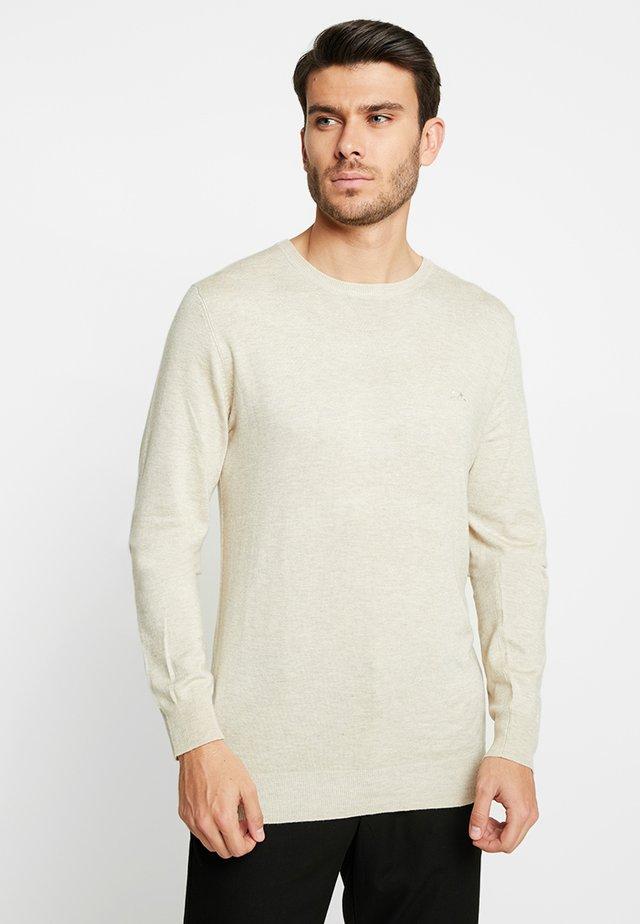 ROUND NECK - Stickad tröja - beige melange
