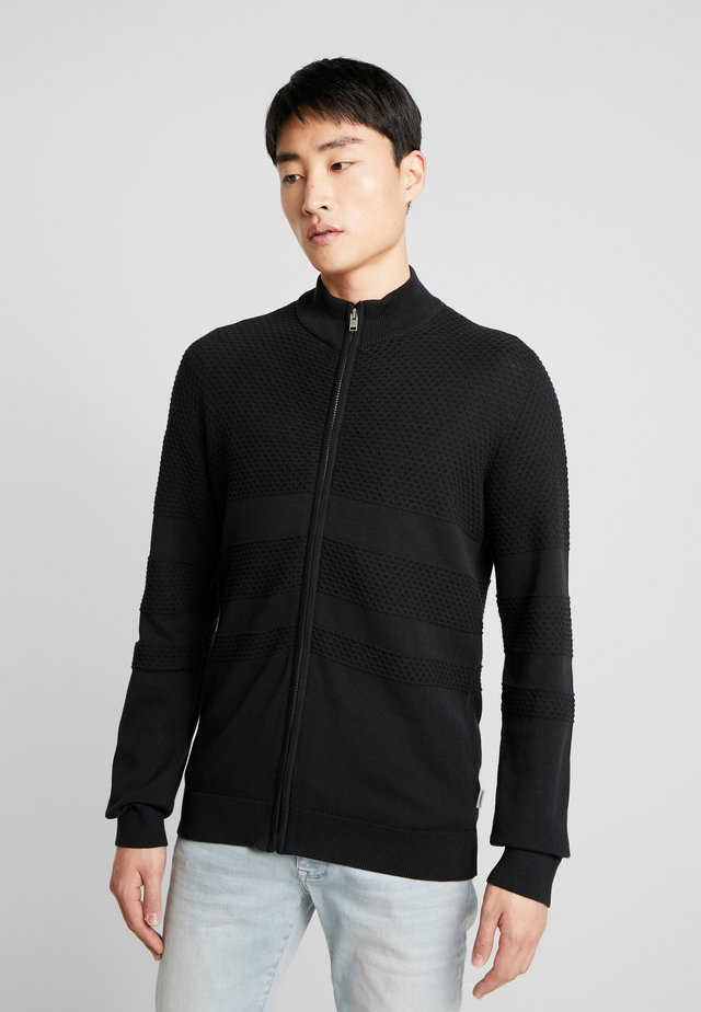 ZIPPED STRUCTURE  - Cardigan - black