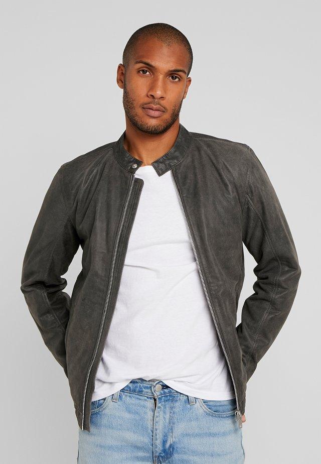 BIKER JACKET - Leather jacket - grey
