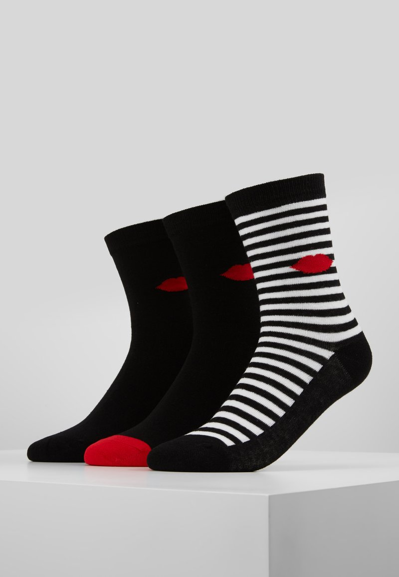 Lulu Guinness - CLASSIC SOCKS 3 PACK - Strømper - black/red
