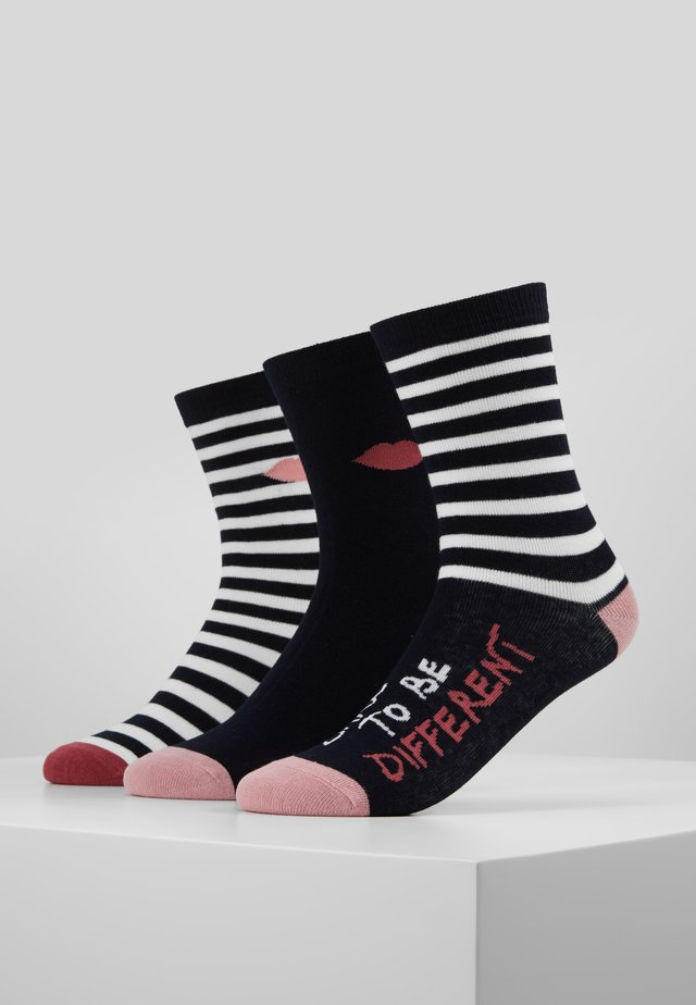 STRIPEY QUOTE SOCKS 3 PACK - Sukat - multi