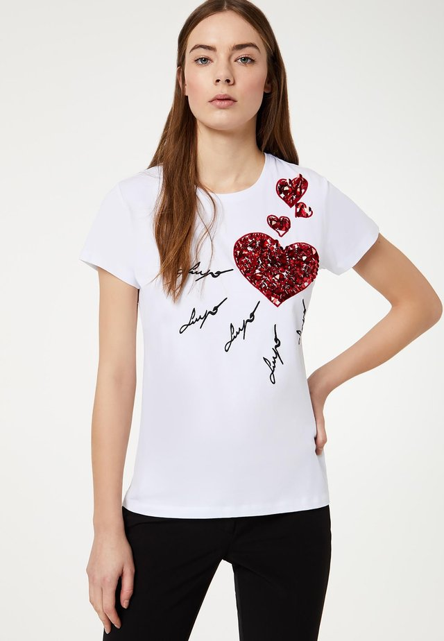 WITH SEQUINS - T-shirt imprimé - white