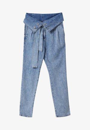 WITH BELT - Straight leg jeans - blue denim