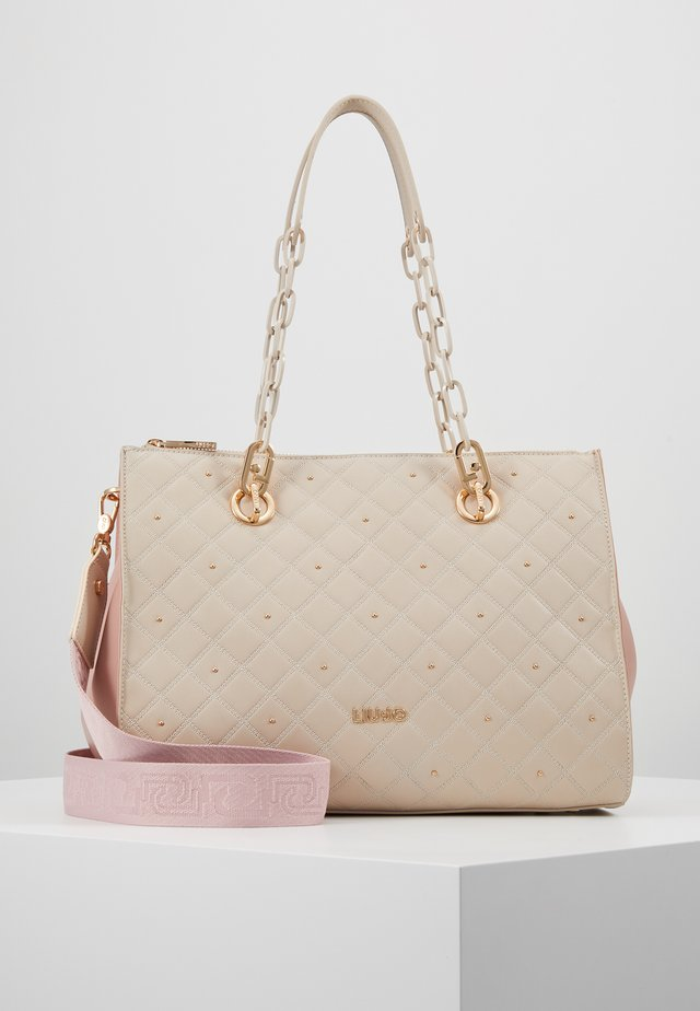DOUBLE ZIP SATCHEL CAMEO - Håndtasker - beige