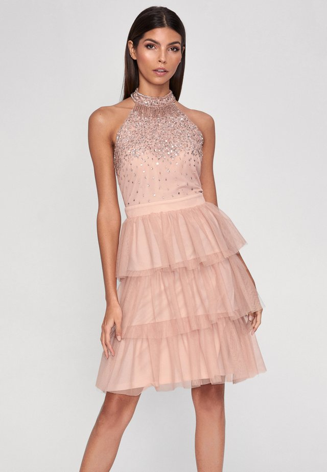 HALTER NECK HAND EMBELLISHED RUFFLE DRESS - Cocktailjurk - pink