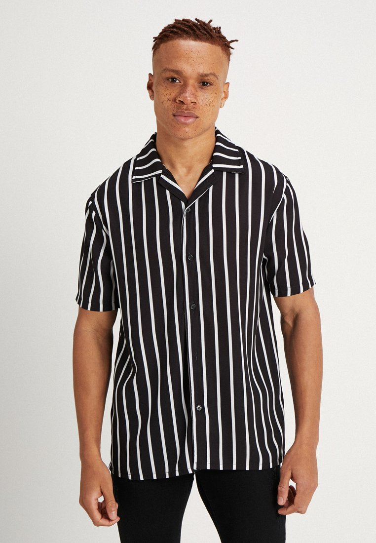 Liquor N Poker - REVERE FINE PIN STRIPE OVERSIZED RELAXED BUTTO - Camicia - black
