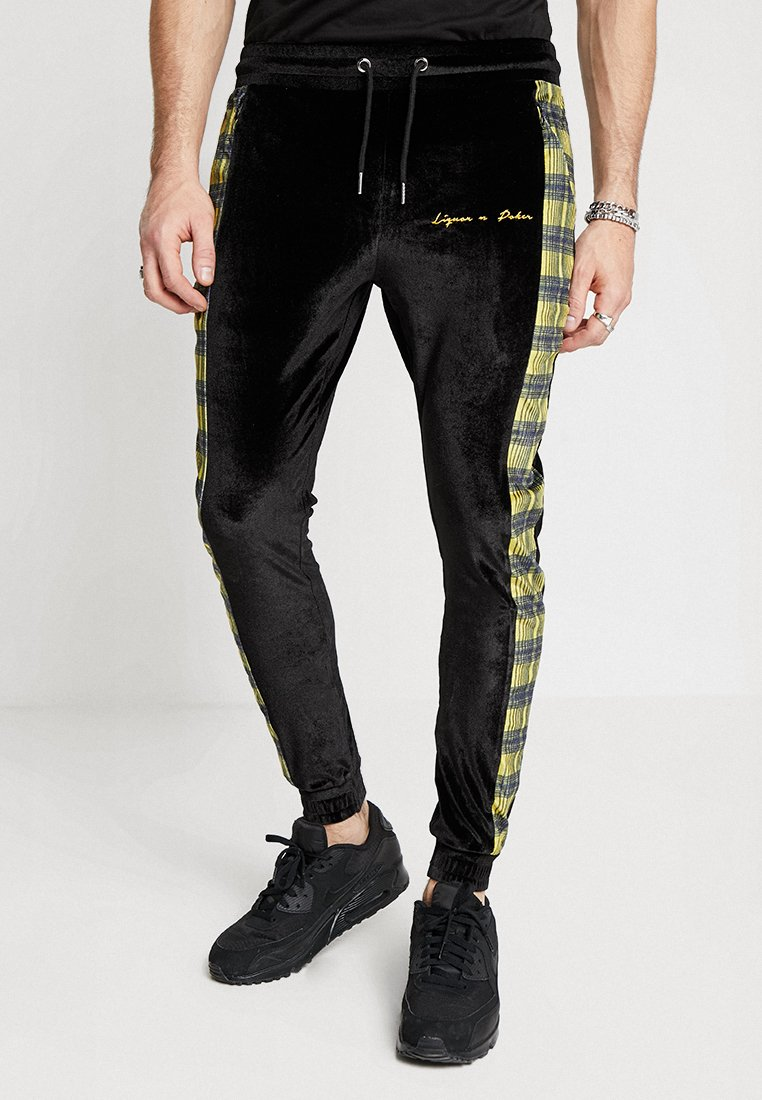 Liquor N Poker - SLIM FIT JOGGER WITH CHECK - Tracksuit bottoms - black