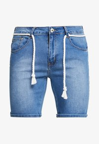 Liquor N Poker - PINCH FADE AND ROPE WAIST TIE - Jeans Shorts - stone wash - 4