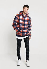 Liquor N Poker - TARTAN BORG HOODY - Kapuzenpullover - blue/orange - 1