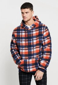 Liquor N Poker - TARTAN BORG HOODY - Kapuzenpullover - blue/orange - 0