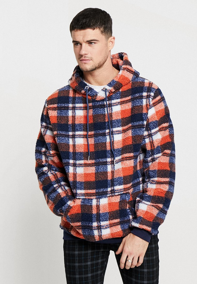 Liquor N Poker - TARTAN BORG HOODY - Kapuzenpullover - blue/orange