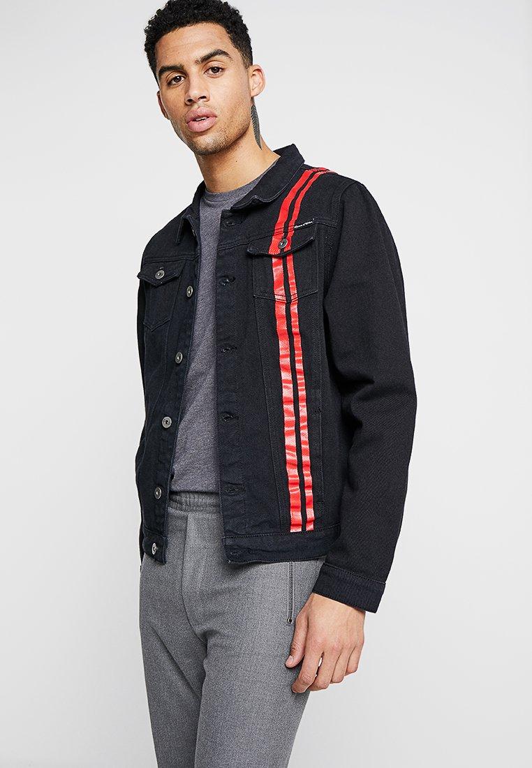 Liquor N Poker - JACKET WITH PAINT STRIPE - Denim jacket - black/red